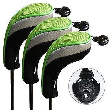 Andux 3 piezas funda de palo de golf híbridos con intercambiable No. etiqueta MT/hy05 (Negro/verde)