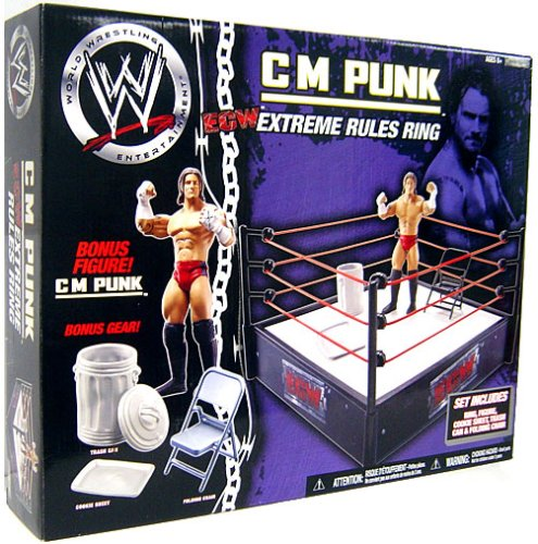 WWE Wrestling Ring Exclusive Extreme Rules Ring with CM Punk Action Figure