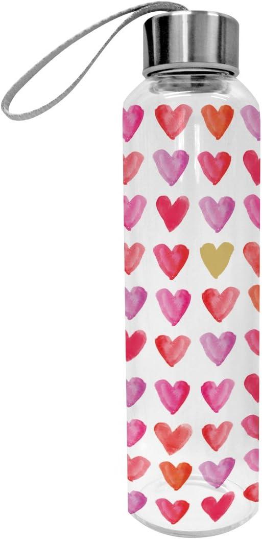 PPD Acuarela Hearts Botella de Cristal, Vidrio, Botella Botella, Deportes, Vidrio borosilicatado, Transparente/Rosa, 550ML, 603397