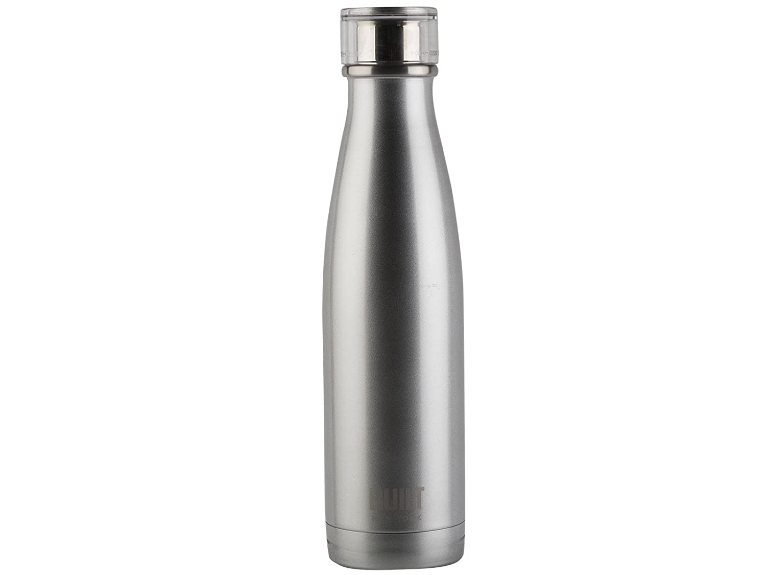 Built NY Double Wall Stainless Steel Perfect Seal Water Bottle, 17-Ounce, Silver 5193231