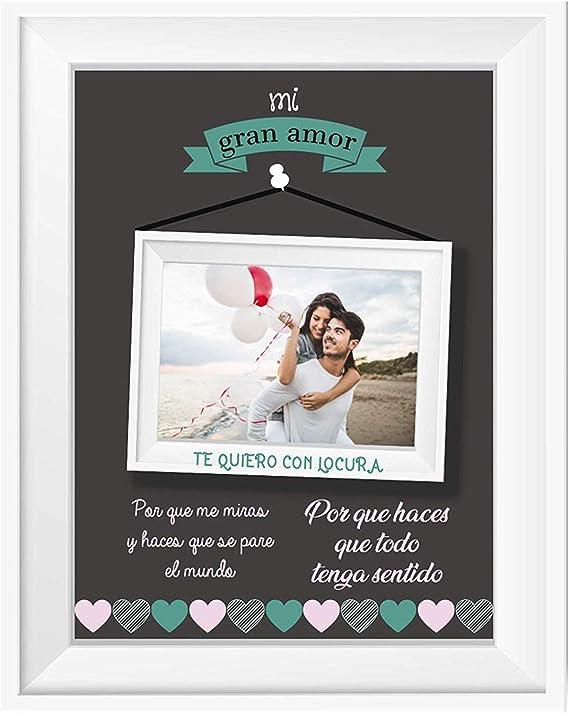 Kembilove Lamina Personalizada con Marco para Pareja - Regalo Original Mi Gran Amor Medida 20 x 25 cm para San Valentin, Enamorados para Novios y Novias - Lamina con Nombre y Datos para Parejas
