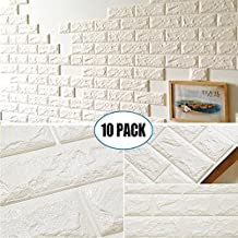 """10 Pack White Brick Wallpaper Tiles, POPPAP Self-adhesive 3D Foam Wall Panels for Home Decor TV Walls kitchen bedroom living room Background Wall Decor ( 23.62""""X 23.62"""" inch)"""