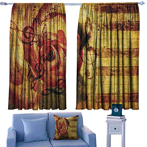 Mannwarehouse Rose Curtain for Kids Vintage Background with Piano Keyboard and Majestic Rose Love Valentines Art Theme Set of Two Panels 55