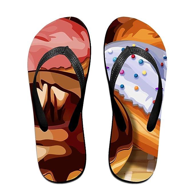 Couple Slipper Doughnut Print Flip Flops Unisex Chic Sandals Rubber Non-Slip Spa Thong Slippers