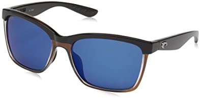 9959220b4ae39 Costa Del Mar Anaa Sunglasses Shiny Black on Brown Blue Mirror 580Plastic