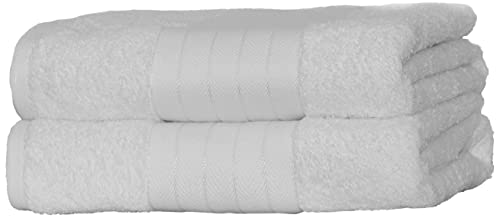 Dreamscene Luxury 100% TB2WH643 Egyptian Cotton 2 x Jumbo Bath Sheets Extra Large Towels Bale - White