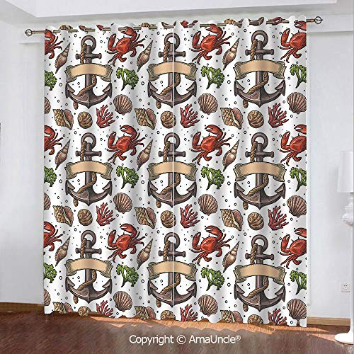 3D Printed Blackout Curtains,Anchor,Sea Shell Coral Crab and Anchor with Ribbon and Rope Vintage Aquatic Composition Decorative,Multicolor Pattern,W84.3xL84.3 Inches,Window Treatments for Bedroom