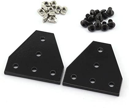 20pcs M5x8mm Hex Socket Cap Screw,for Standard 6mm Slot Aluminum Profile PZRT 2020 Series L Shape Joint Plate Bracket Kit,4pcs Joint Plate,20pcs M5 T-slot Nuts