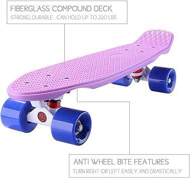 PLAYSHION Mini Cruiser T-Tool 22 Zoll Retro Skateboard f/ür Kinder und Erwachsene mit High Speed ABEC 9 Kugellagern