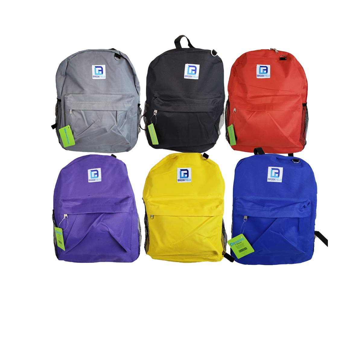 Brookfield Classic 17 Inch Wholesale Mesh Backpacks in Assorted Colors - Bulk Case of 24 Bookbags by Brookfield