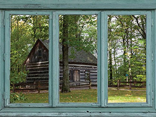 Old cabin a secluded forest setting Rustic wood dwelling Wall Mural