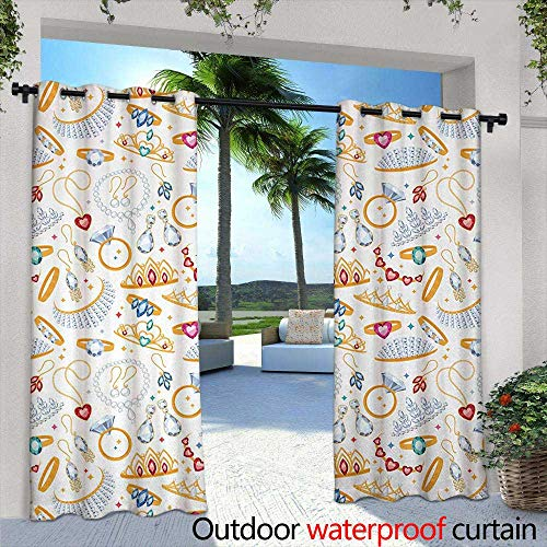 "Tim1Beve Indoor/Outdoor Curtains Pearls Pattern with Accessories Diamond Rings and Earring Figures Image Digital Print Waterproof Patio Door Panel 108"" W x 72"" L White Yellow"