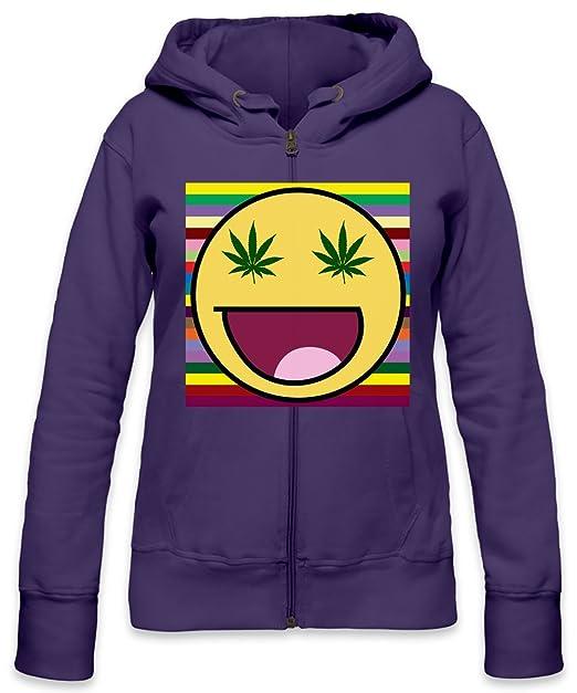 Smile Marihuana Eyes Slogan Womens Zipper Hoodie: Amazon.es: Ropa y accesorios