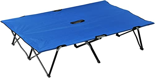 Outsunny Portable Wide Folding Camping Cot Elevated Bed for Adults with Carrying Bag – Blue