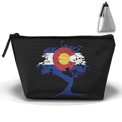 GQOP Cosmetic Bag Bonsai Tree Colorado Flag Clutch Bag Portable Pouch Bag: Home & Kitchen