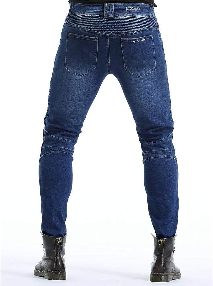 Sportliche Motorrad Hose Mit Protektoren Motorradhose mit Oberschenkeltaschen Blau XL- Waist 36.5