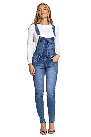 5a61848cd9eb Womens Urban Look Denim Dungarees Ladies Denim Button Skinny Dungarees Size  6-14  Amazon.co.uk  Clothing