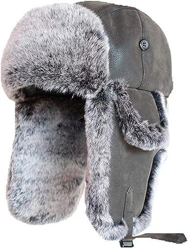 Winter Rabbit Fur Bomber Hat Aviator Trapper Snow Skiing Caps