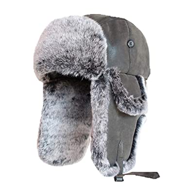 3d16e6d53e9c0 Amazon.com  Bomber Hats Faux Rabbit Fur Russian Vintage PU Leather Aviator  Trapper Men Winter Warm Snow Ski Cap  Clothing
