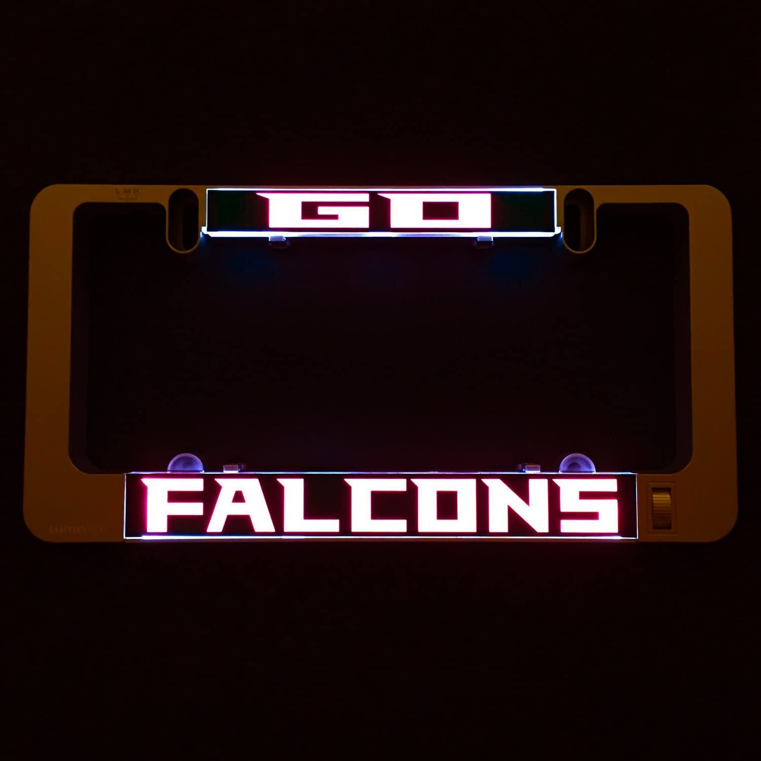 Battery Operated LumiSign The Auto Illuminated License Plate Frame Lights Up While You Brake Installs in Seconds No Wires Interchangeable Inserts