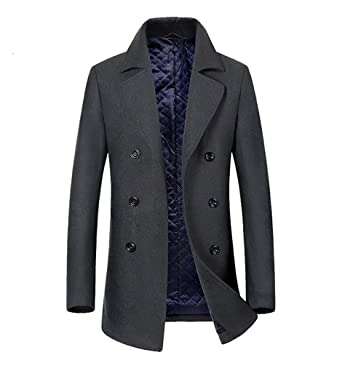79367af20 Mens Duffle Coat Double Breasted Wool Blend Lapel Collar Pea Long ...