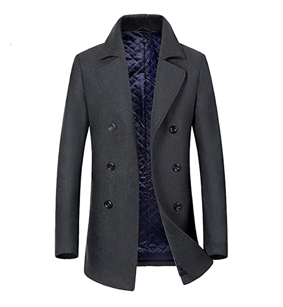 Lana Doppiopetto Tweed Blend In invernale di nero Uomo Giaccone da qwxStgt