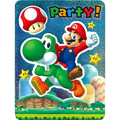 Super Mario Brothers Jumbo Deluxe Party Invitation Cards, 8