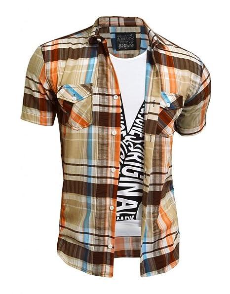 D&R Fashion - Camisa Casual - Clásico - Manga Corta - para Hombre Beige/Brown
