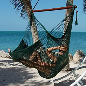 large caribbean hammock chair 48 inch polyester hanging chair green