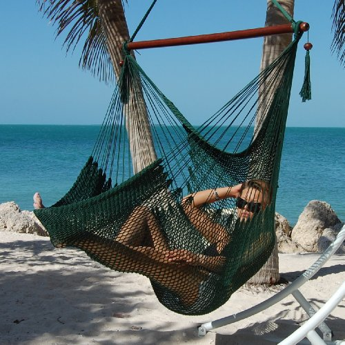 Green Polyester Hammock (Large Caribbean Hammock Chair - 48 Inch - Polyester - Hanging Chair -)