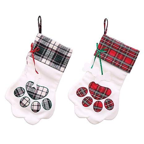 BETTERLE Better - 2 Calcetines de Navidad Personalizables, diseño de Huellas de Huellas, para