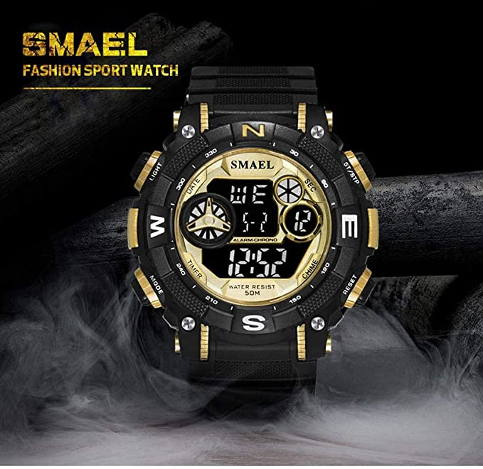 Amazon.com : Mens Sports Analog Quartz Watch Dual Display Waterproof Digital Watches with LED Backlight relogio Masculino El Movimiento de Los relojes ...
