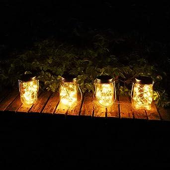 XDW-GIFTS Paquete de 6 Luces solares para frascos (Tarro de masón/asa Incluido), 20 Bombillas para Colgar en Frasco, para jardín al Aire Libre Solar/lámpara Colgante, decoración de luz Solar: Amazon.es: Jardín