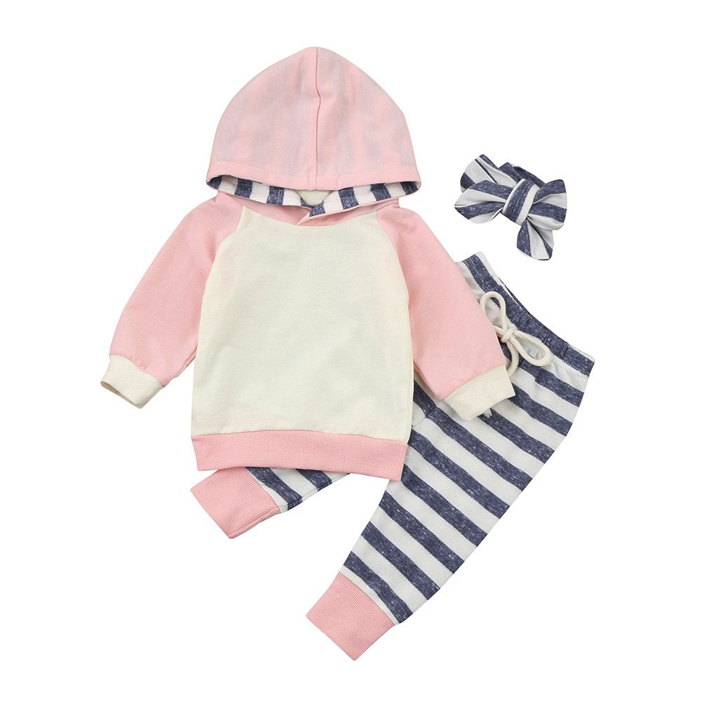 Brezeh Newborn Infant Baby Boy Girl Long Sleeve Striped Romper Jumpsuit Clothes Hoodie Tops+Pants+Headband Outfits(3PCS)