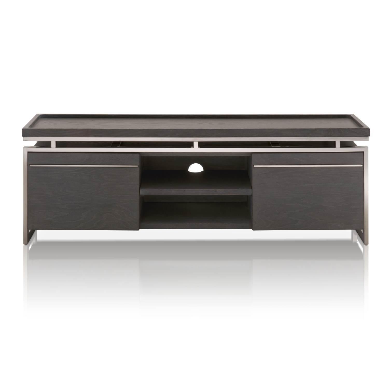 Star International Furniture 2455-TV.BWO Benson TV Unit, Black Wash Oak/Black Stainless Steel