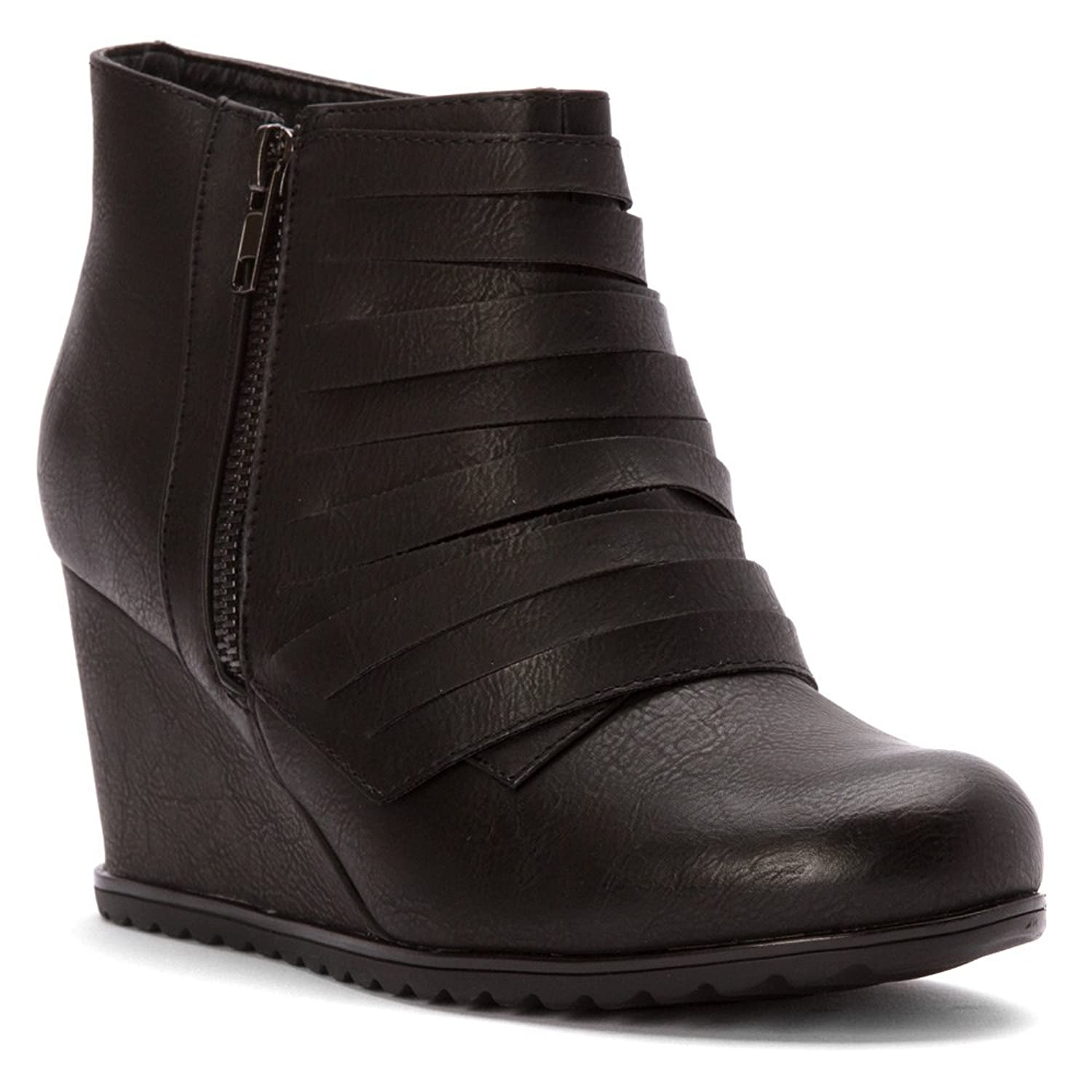 2 Lips Too Naia Black Wedge Bootie, 5.5 M US