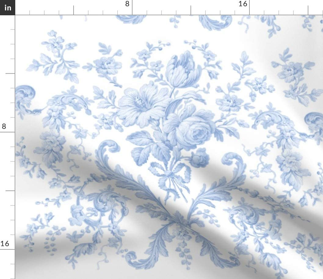 Spoonflower Fabric - Faded French Toile White Shabby Chic Blue Flowers Roses Vintage Printed on Linen Cotton Canvas Fabric by The Yard - Sewing Home Decor Table Linens Apparel Bags