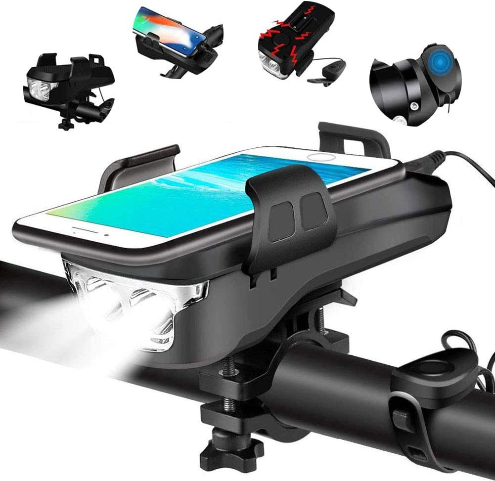 QUMOX Waterproof Bicycle Front Light with 4000mAh Power Bank//Bike Horn//Phone Holder Red