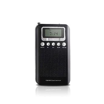AM FM radio de transistor de bolsillo portátil, funciona con batería, radio despertador digital con conector de auriculares de 3,5 mm, modo estéreo, modo de memoria y temporizador de sueño: Amazon.es: Industria,