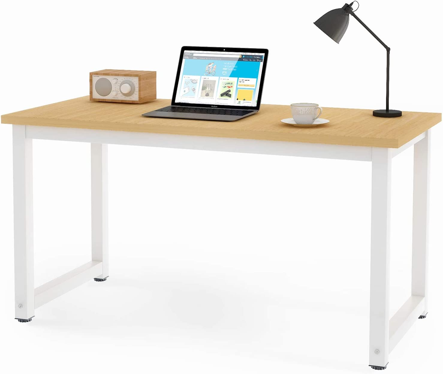 Symylife Computer Desk Office table Study Desk Computer PC Laptop Table Workstation Dining Gaming Desk for home Office Oak