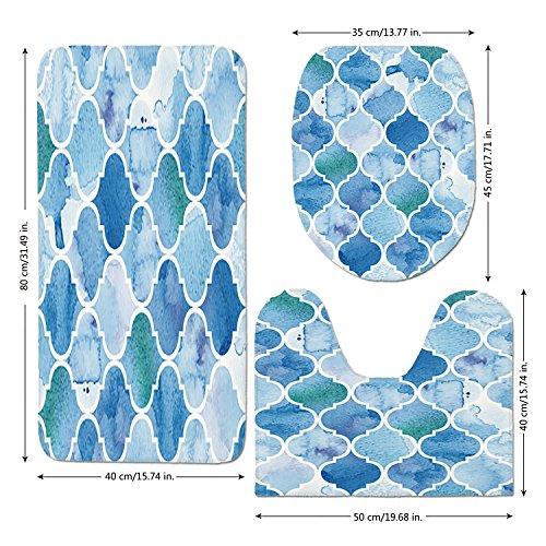 3 Piece Bathroom Mat Set,Watercolor,Abstract Moroccan Trellis Geometric Pattern Curves Persian Mosaic Design,Blue Baby Blue,Bath Mat,Bathroom Carpet Rug,Non-Slip