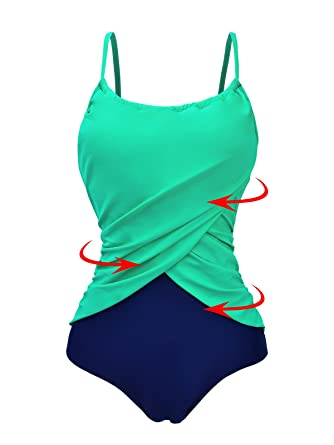 8b1cd735c64f4 Zando Color Splicing One Piece Swimsuit Plus Size Bathing Suits Frilly  Vintage Tummy Control Swimwear for