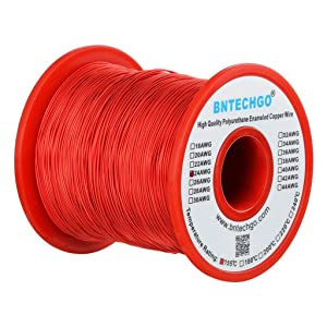 "BNTECHGO 24 AWG Magnet Wire - Enameled Copper Wire - Enameled Magnet Winding Wire - 1.0 lb - 0.0197"" Diameter 1 Spool Coil Red Temperature Rating 155℃ Widely Used for Transformers Inductors"