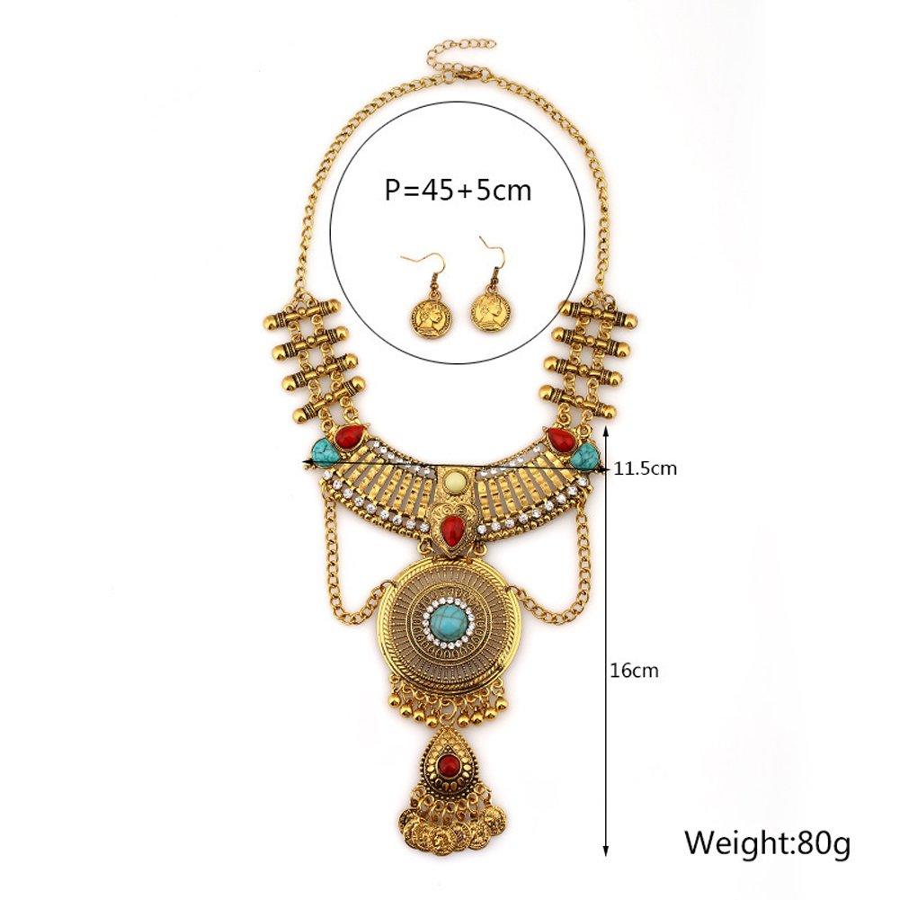 Domybest Parure de bijoux avec boucles d/'oreilles et collier plastron avec cristaux pour femme