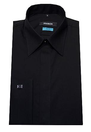 purchase cheap a98e9 6037b HUBER Umschlag Manschetten Hemd schwarz verdeckte Knopfleiste HU-0362 Slim  Fit, Produktion in Europa