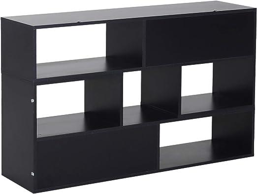 Homcom Mueble de pared modular librería mueble TV 2 módulos combinables, negro: Amazon.es: Jardín