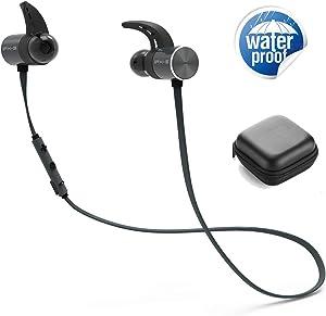 NFGHK Auriculares Bluetooth, Wireless Auriculares Batería Dual Mayor Duración de la Batería IPX5 Sports Waterproof con Micrófono y Control de Volumen para iPhone iPad Smartphones