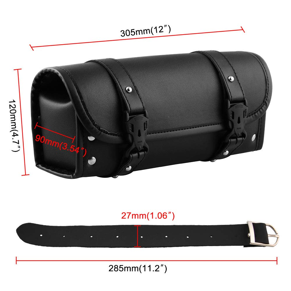 Motorcycle Saddle Bag PU Leather Tool Roll Motor Side Luggage Travel Tool Tail Bag with 2 Mounting Straps Black