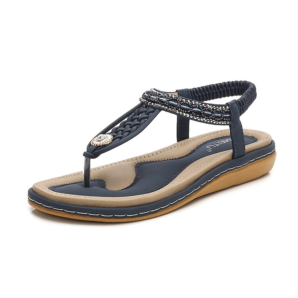 Wollanlily Bohemia Flat Sandals Summer Style Knitting T Strap Elastic Slip On Flip-Flop Casual Shoes(9.5 B(M) US,Blue 02)