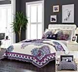 Chic Home 4 Piece Mandalas 100% Cotton 200 Thread Count Extra Large Panel Framed Vintage Boho Printed REVERSIBLE Queen Duvet Cover Set Purple